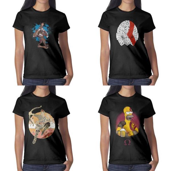 Design da donna con stampa God of War bar divertente maglietta nera grafico pazzo campione camicie camicia impressionante sport famiglia film college e
