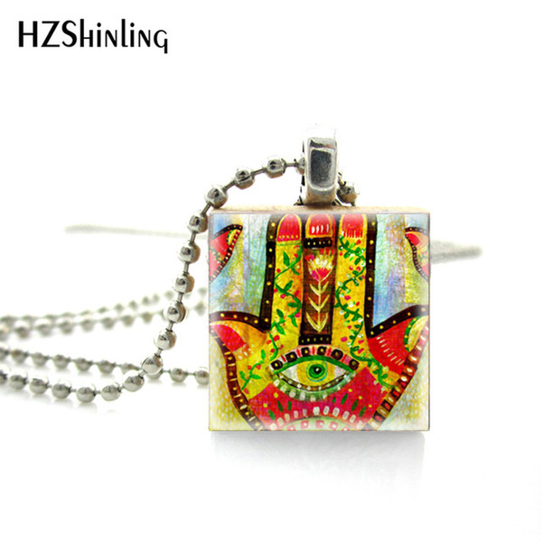New Fashion Colorful Hamsa Hand Art Square Sticker Scrabble Game Tiles Hand Craft Jewelry Ball Silver Chains Necklace