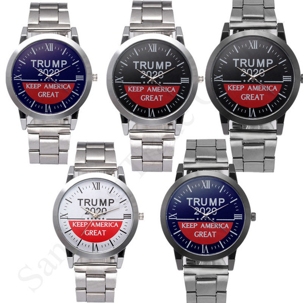 top popular New Trump 2020 Wrist Watch Letters Quartz Wristwatch Keep America Great Mens Alloy Stainless Strap Watch Band Retro Unisex Watches C91707 2020