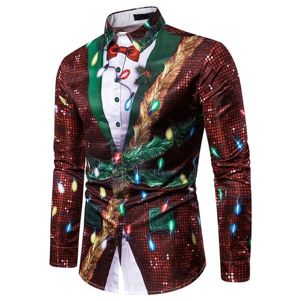 Uomini falso due pezzi casuale camicia del fiocco di neve di Natale Top Stampato gira-giù Camicia da uomo occidentale Festival partito felpe Uomo