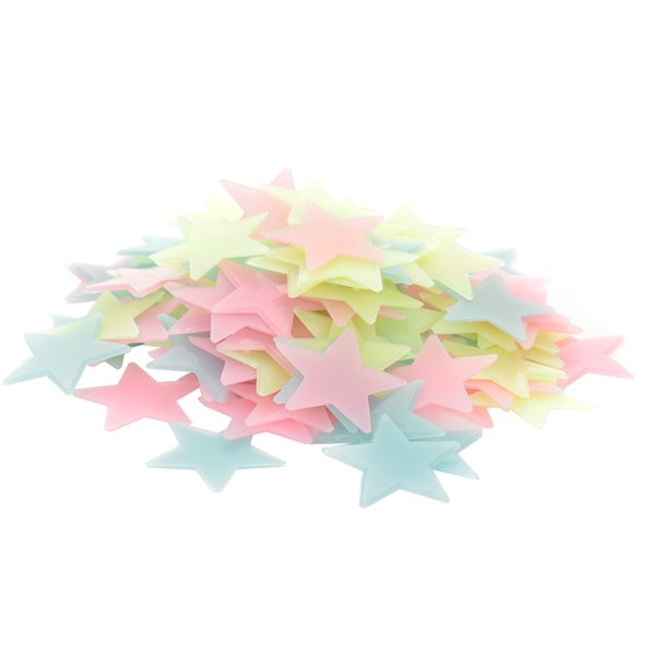 100 pcs 3D Stars Wall Stickers Glow in the Dark Luminous Fluorescent Plastic Art Decor for Kids Living Room Removable Decoration