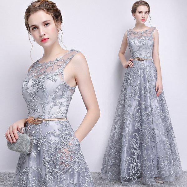 2019 Lace Vintage Sexy Evening Dresses Sheer Neck A-line Elegant Prom Dresses Cheap Formal Party Pageant Bridesmaid Gowns