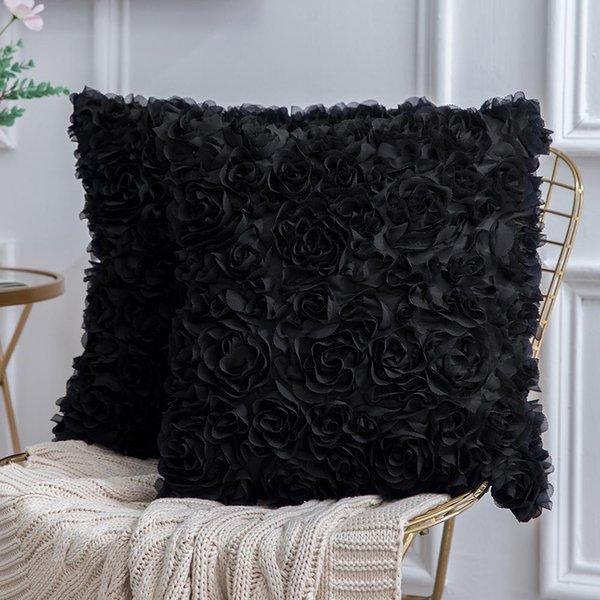 Rose en mousseline de soie stéréo romantique décorative 3D Fleur Coussin solide carrée Taie Sofa Chambre voiture décoratifs floqués