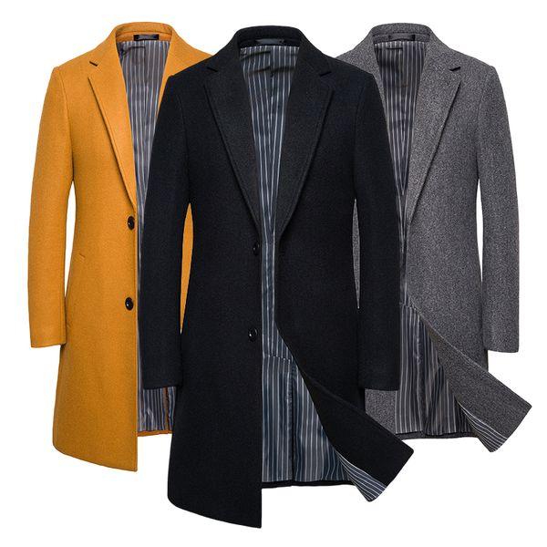 Erkekler Siyah Haki Palto Erkekler Rasgele Uzun Ceket İngiltere Style Plus Boyut Erkekler'S Coat Uzun Kollu Kış Coat Abrigo Hombre 5XL 4XL