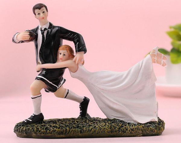 Creat casal estatueta estranho amor de futebol do que resina resina Artesanato ornamentos estilo mini estátua para decoração de casa decoração de festa de aniversário de casamento