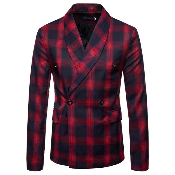 Мужские костюмы куртка мужская плед блейзер костюм куртка тонкий случайные мужчины блейзер хлопок тонкий Англия костюм Blaser мужской куртка J1811115
