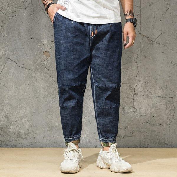 2019 Camouflage Patch Jeans Männer Dünne Beiläufige Baumwolle Klassische Zerrissene Denim Für Männer Gerade Slim Fit Plus Größe 30-46 Biker Jeans