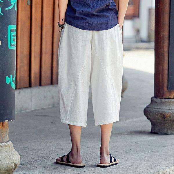 # 4533 Comprimento de bezerro de verão plissado Retro calças de linho branco Mens estilo chinês Vintage solta de linho calças perna larga Plus Size 5XL
