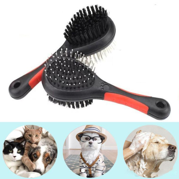 Double-Side Dog Hair Brush Pet Cat Grooming Cleaning Tools Plastic Massage Comb With Needle