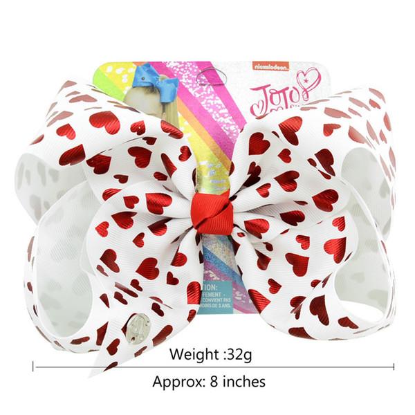 Valentine Jojo Bows Hearts Prints 8 Inch Hair Bow Metal Charms Signature Dancing Bows Jojo Siwa Large Bows