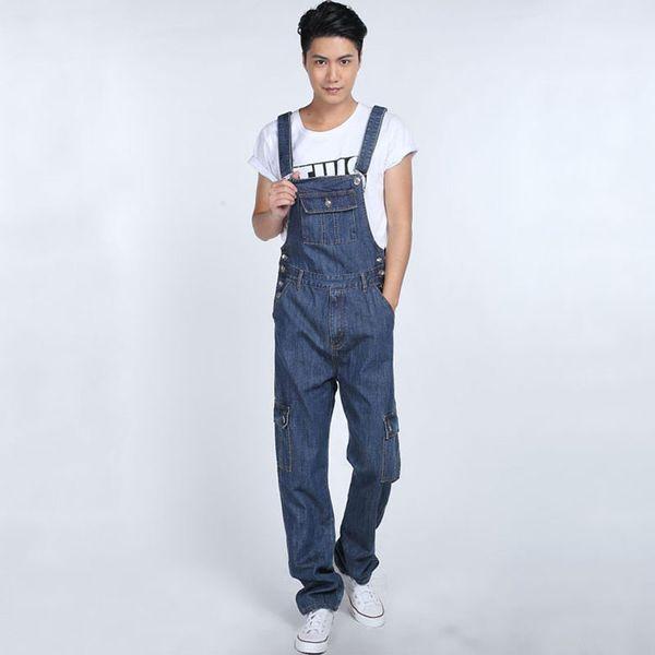 Combinaison de mode multi poches en denim pour garçons Combi-pantalon décontracté ample pour hommes Taille plus pantalon à bretelles Straight Baggy cargo jeans 062906