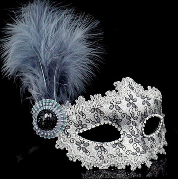 Pena de Couro de avestruz Em Pó Máscara Veneza Máscara Princesa Máscara de Disfarce Elegante Big Plume Decoração Do Casamento Do Dia Das Bruxas