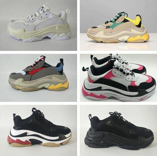 Hot !! 2019 Fashion Triple S Designer Low Old Dad Sneaker Suole combinazione stivali uomo donna moda casual scarpe di alta qualità superiore 36-45