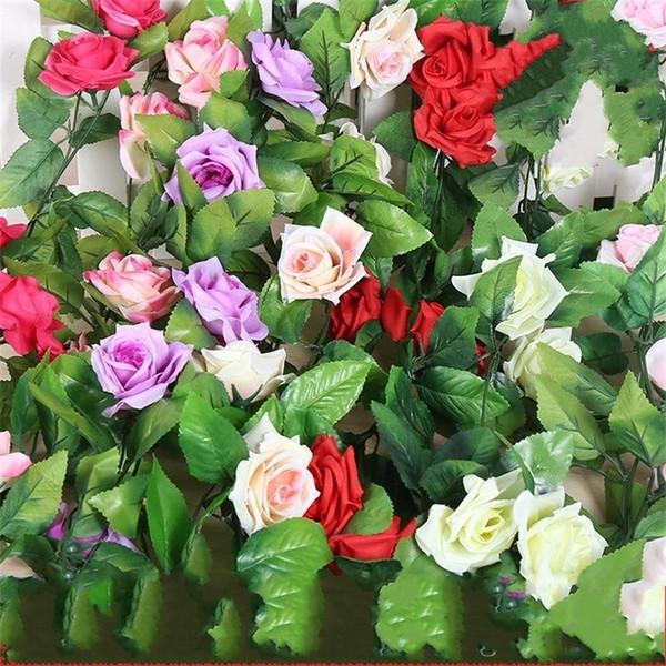 Yapay Çiçek Simülasyon Çok Renkli Dokuz Gül Bir Asma Kamışı Vines Yeşillik Rattan Duvar Asma Factitial Bitki Düğün 3