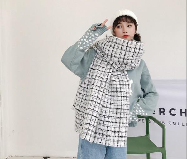 écharpe bord de laine à carreaux noir et blanc peut être associé à un foulard européen et américain en automne et en hiver