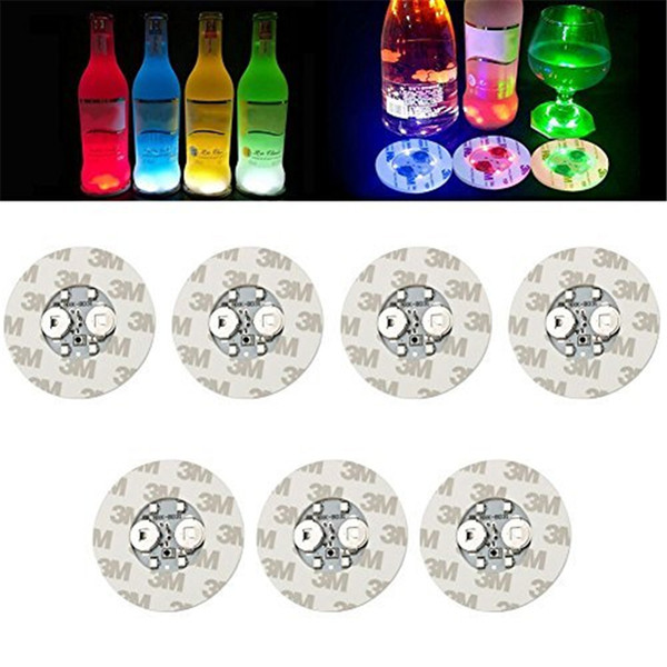 best selling 6cm LED Bottle Stickers Coasters Light 4LEDs 3M Sticker Flashing led lights For Holiday Party Bar Home Party Use
