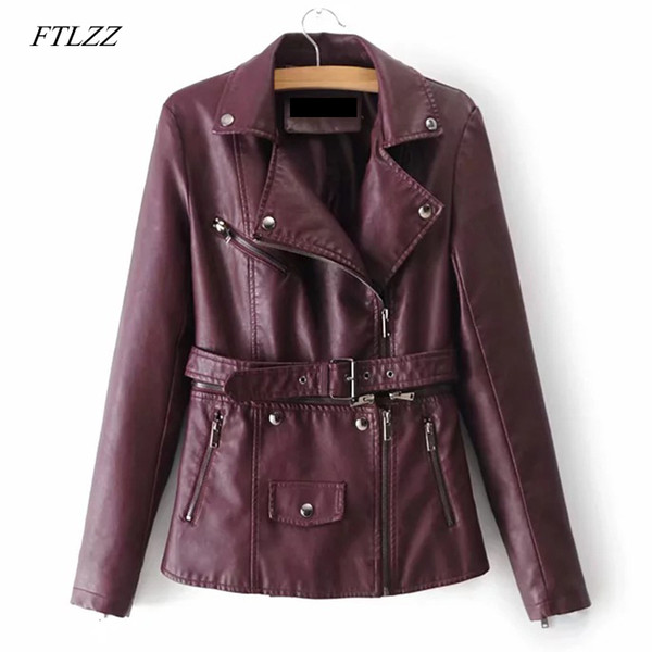 FTLZZ New Women Pu Leather Jacket Autumn Winter Detachable Zipper Rivet With Belt Motorcycle Jacket Female Casual Punk Coat