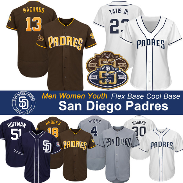 San Diego Manny Machado Jersey Padres 50 ° Anniversario Fernando Tatis Jr Wil Myers Eric Hosmer Chris Paddack Hunter Renfroe Maglie da baseball