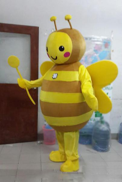 2018 Venda direta da fábrica abelha traje da mascote bonito dos desenhos animados fábrica de roupas personalizado personalizado adereços adereços andando bonecas roupas de boneca