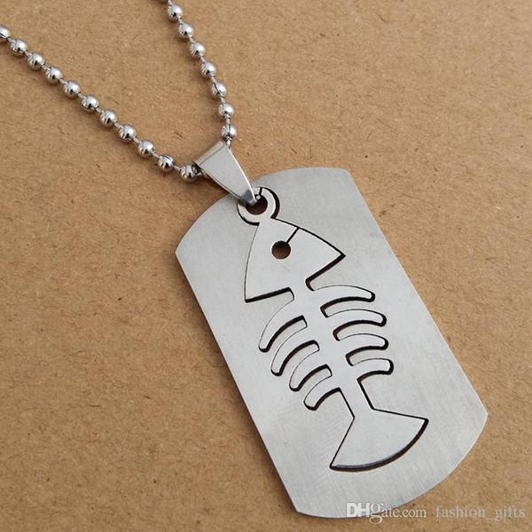 1pcs stainless steel double layer fish bone charm pendant necklace detachable fish bone necklace sea bottom animal bone necklace jewelry