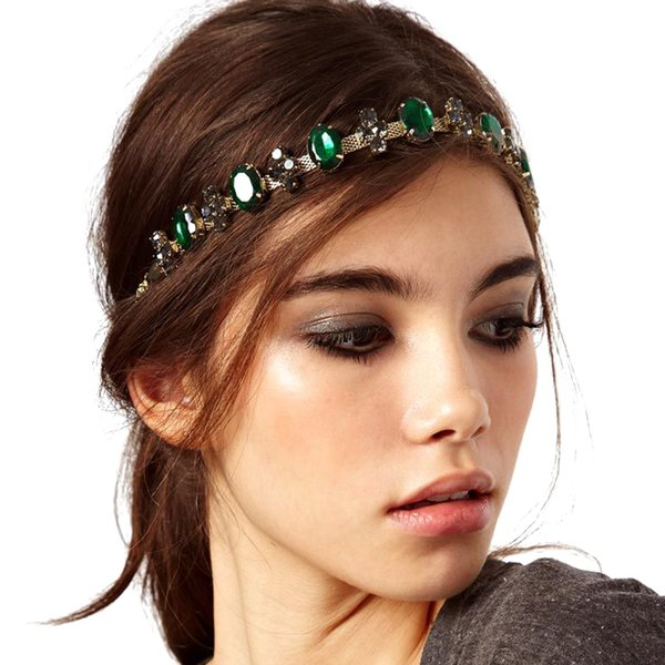 intage bridal headpiece Luxury Bohemia Green Crystal Wedding Headband Rhinestone Vintage Bridal Headpiece For Women Hair Accessories Page...