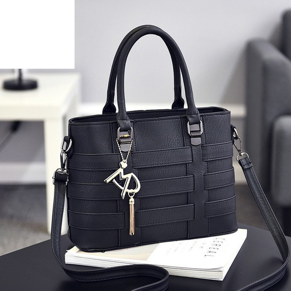 good quality Women Bag Shoulder Bags For Woman 2019 Pu Leather Handbag Knitting Design Letter Button Message Bag For Lady Sac A Main