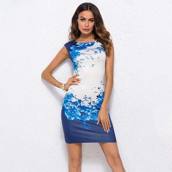 2019 verão floral mulheres dress plus size 3xl elegante ladies escritório party dress vestido feminino magro bainha bodycon dress azul
