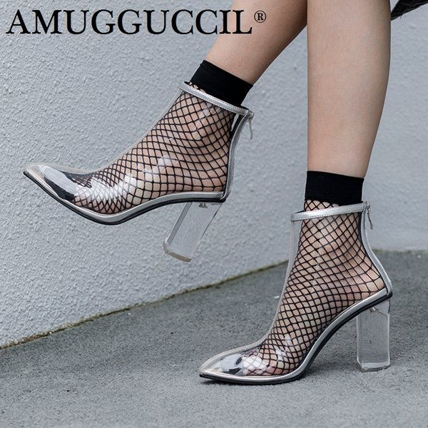 2019 New Plus Big Size 35-45 Silver Black Zip Fashion Sexy High Heel Clear Spring Summer Girl Females Ladies Women Boots X1808