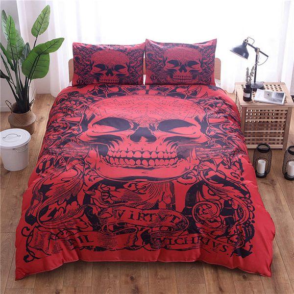 Red Skull Gedruckt Bettwäsche Set King Size Fahion Kühlen Bettbezug Königin 3D Heimtextilien Doppel Einzelbett Set Mit Kissenbezug 3 stücke