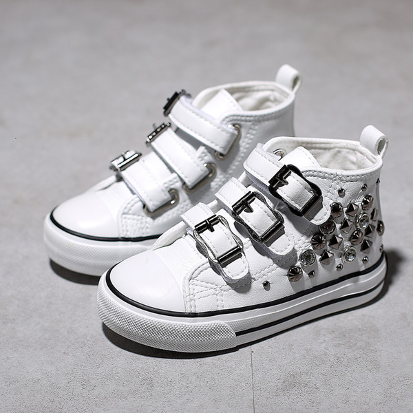 Rivets Children's Canvas Shoes 2019 Spring New Korean Princess Shoes High Top Girls Sneakers Casual Girls Shoes T191001