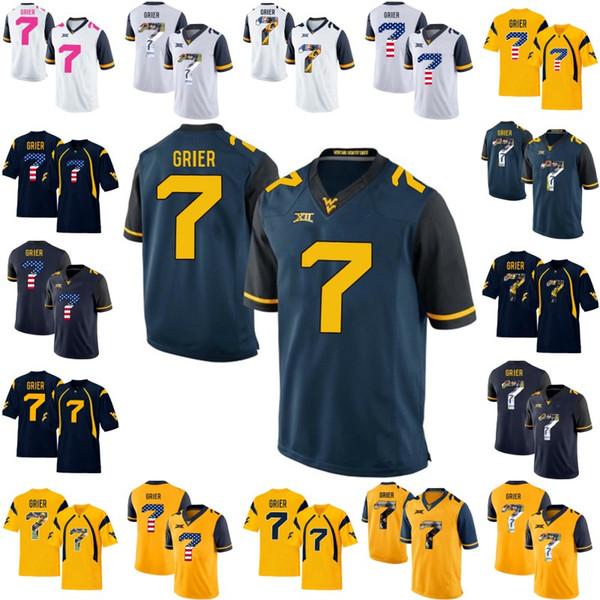 WVU West Virginia Alpinistas 7 Will Grier Mens Mulheres Juventude NCAA Colégio Camisas De Futebol Duplo Costurado Número Da Bandeira Americana