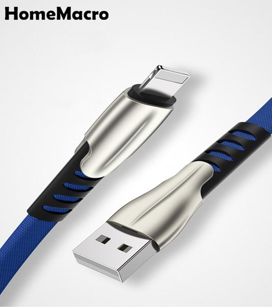 1M Luxus-Zink-Legierung Stoff Geflochtene USB-Kabel-Aufladeeinheit USB Kabel Ladedraht Ladegerät für X Xs Xr 6S 7 8 Plus