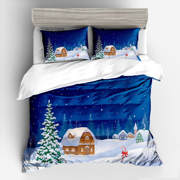 Xmas Blue Sky Forest Hut Bedding Set Twin Full Queen King Au Single Uk Double Size Gift From Christmas Duvet Cover Pillow Cases