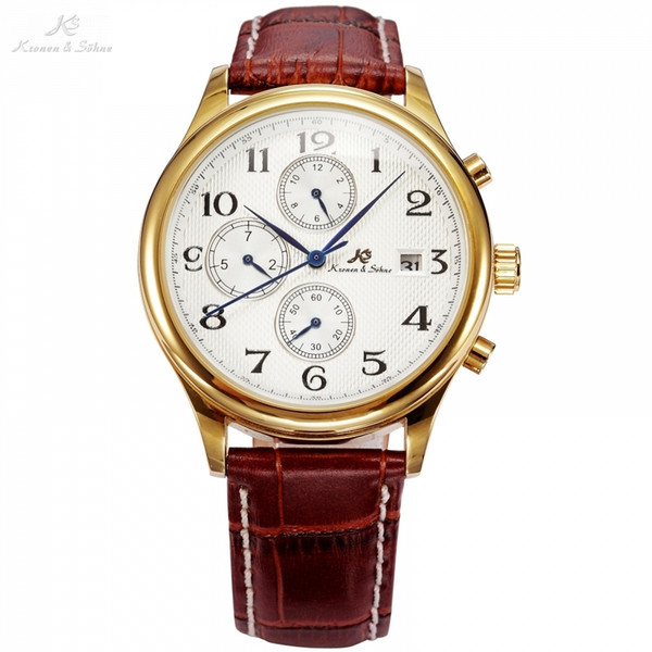 Ks Brand Imperial Series 3 Dial Date Month Day Display Brown Leather Strap Men Auto Mechanical Golden Luxury Watch Gift /ks155 Y19021402