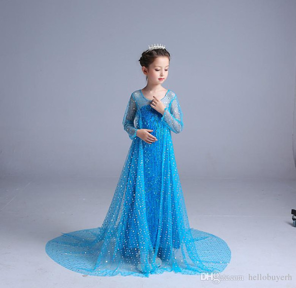 Frozen Novelty Aisha Princess a maniche lunghe Girl Dresses Mesh Paillettes Mopping Skirt Modelli di esplosione Flower Girl Dresses