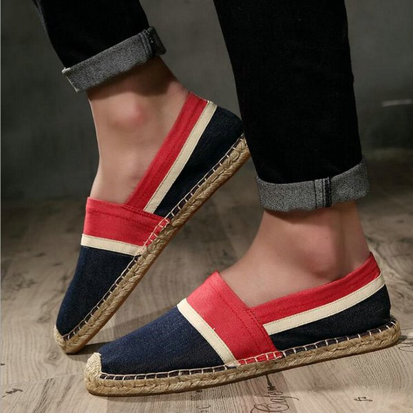 QWEDF Fashion Men Flats Plimsolls Striped Canvas Boys Casual Linen Shoes Men Shoes Male Espadrille Fisherman CZ-58