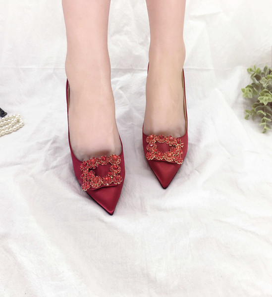 Overseas2019 Snow Diamonds Buckle Champagne Color Wine Red Toast Bridesmaid Shoe Small Wedding Will Shoes