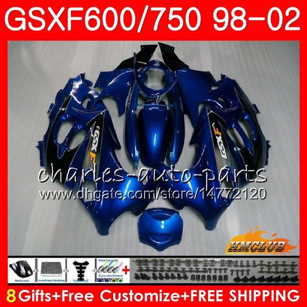 Cuerpo para SUZUKI KATANA fábrica azul GSXF 750 600 GSXF600 98 99 00 01 02 2HC.15 GSX750F GSX600F GSXF750 1998 1999 2000 2001 2002 Kit de carenado