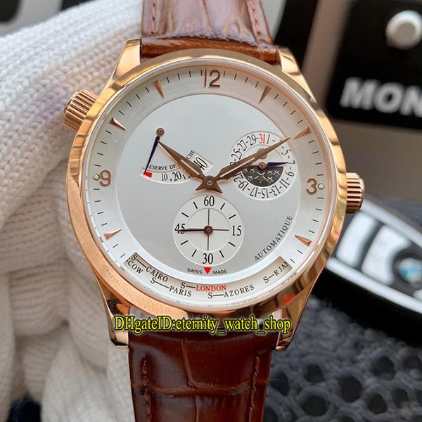 3 Color Cheap Master Control Q1482401 White Dial Power Reserve Japan Miyota Automatic Mens Watch Rose Gold Case Leather Strap Sport Watches
