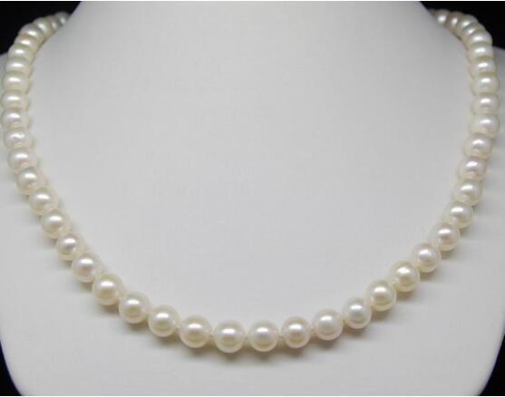 """New Design Fine + 7.5-8 mm White Akoya Pearl Necklaces 16"""" 925silver Gold Clasp"""