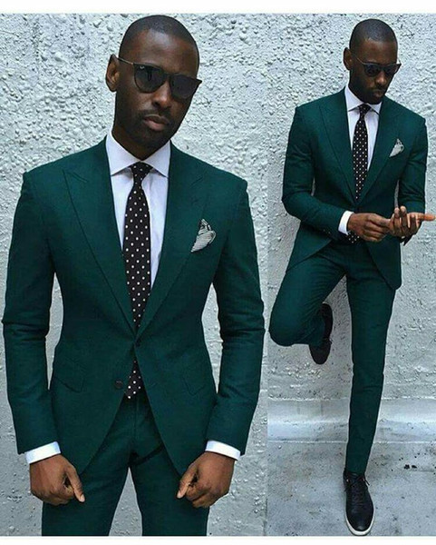 Hommes élégants Costumes Vert Slim Fit 2 Bouton 2 Pièces Costume Marié Groomsmen Hommes Blazer Pantalon De Mariage Costume pour Hommes De Bal smuxedos Fait Sur Mesure