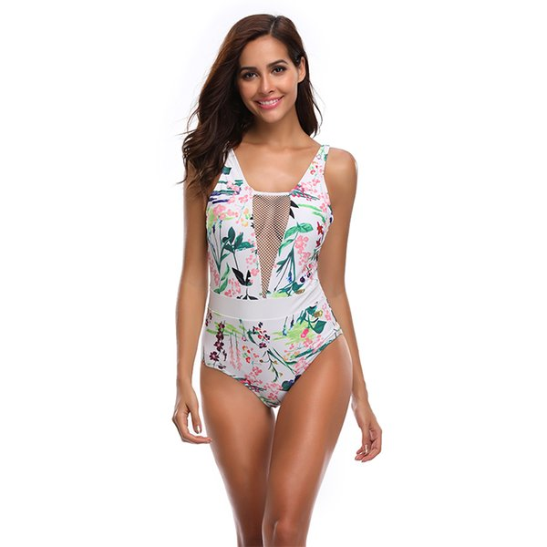 New Sexy White Floral Print Swimsuit Women One Piece Suit Mesh Patchwork Swimwear S-XL Girl Deep V Bathing Suit Padded Monokini