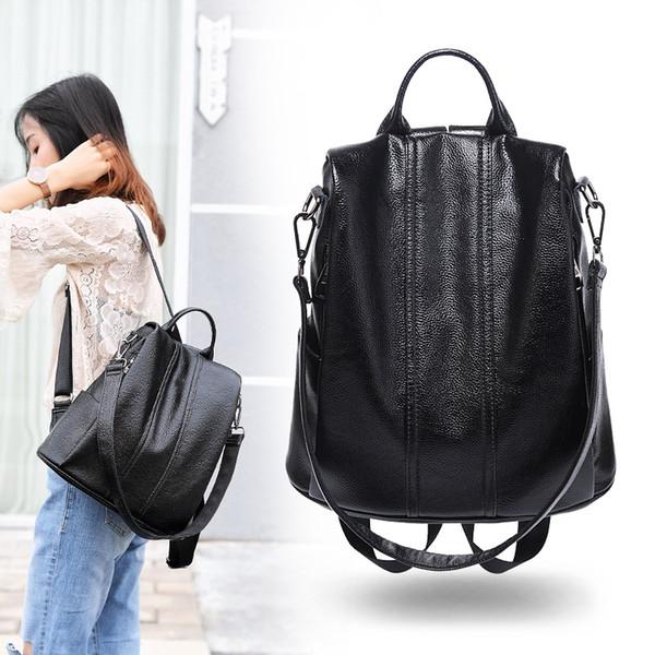 Женский рюкзакРазмерная высококачественная водонепроницаемая женская сумка с защитой от кражи ПУ кожаные школьные сумки для подростков Girl Fashion