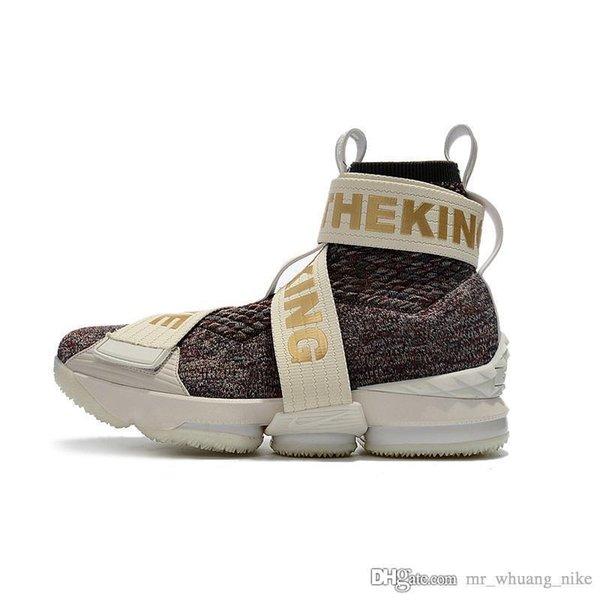 Ucuz Lebron 15 yüksek top basketbol ayakkabıları KITH Çiçek Siyah Beyaz Kahverengi Gri Yaşam Tarzı erkek kız gençlik çocuklar açık sneaker çizmeler kutusu ile