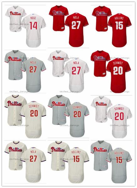 обычай Мужчины женщины молодежь Филадельфия Джерси Филлис # 20 Майк Шмидт 27 Аарон Нола 14 Пит Роуз 15 Дэйв Холлинс Трикотажные изделия для бейсбола