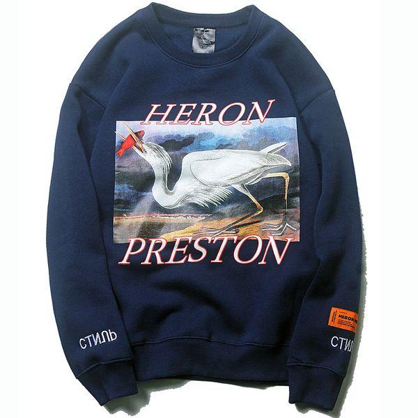 Heron Preston brand designer Hoodie Hip Hop Crane Print Sweatshirts Men Women Pullovers Streetwear Designer Hoodies Black Blue