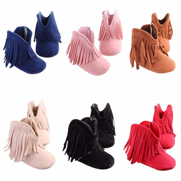Infant Baby Grils Tassel Boots First Walkers Prewalkers Soft Soled Anti-slip Kids Solid Color Winter Warm Snow Boots Fringe Shoes