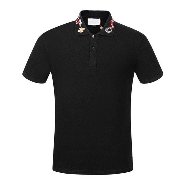 19ss Cotton polo with Kingsnake embroidery men polo shirt embroidered appliqué bee collar polos mens t shirts clothing shorts Poloshirt