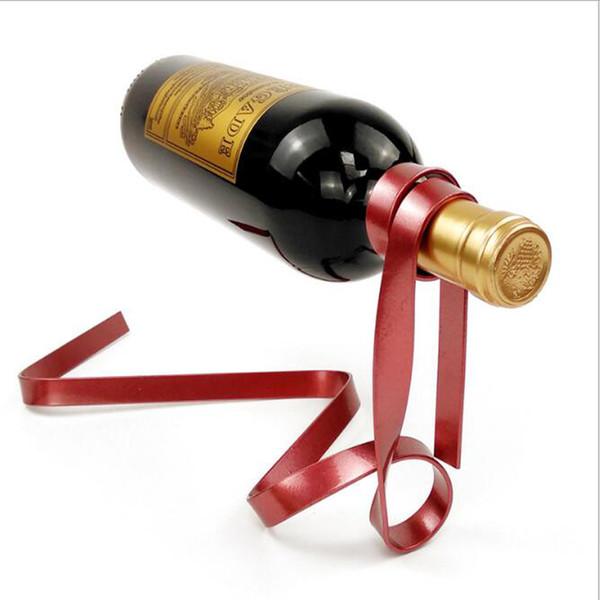 top popular Magic Suspended Ribbon Wine Rack Suspension Wine Stand Novelty Iron Rack Bottle Holder Stand Bar Wedding Whiskey Stone Silk Rope 2021