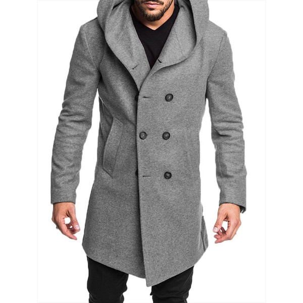 Mens New Style Mode Hiver chaud chaud Trench Bouton solide avec poche style britannique Woollen Trench Casual Hauts à Pardessus